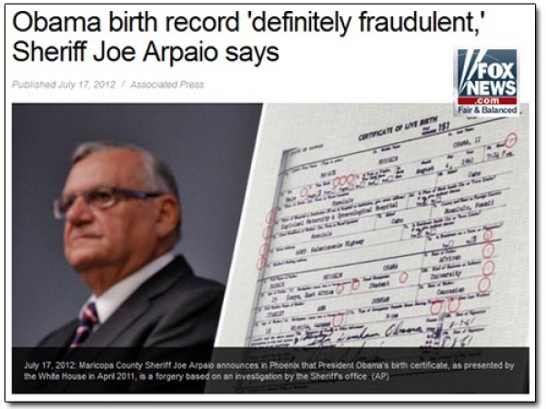 Sheriff Joe: 'Probable cause' Obama certificate a fraud
